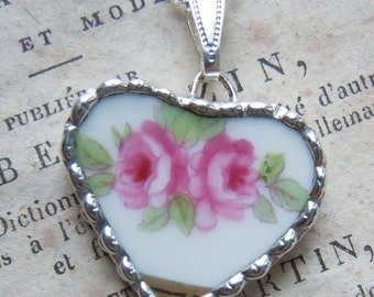Fiona & The Fig Victorian Era-French Limoges - Broken China Soldered Necklace Pendant Charm-Jewelry