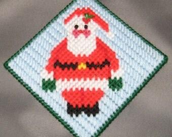 Santa and Blushing Snowman coaster set Plastic Canvas Patterns