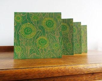 Linocut Cards Set of 4, Valentine, Dandelions, Original Hand Printed Cards, Blank Greeting Cards, Brown Kraft Cards, Free Postage in UK,