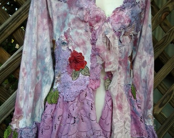 """20%OFF bohemian gypsy lagenlook wedding formal vintage inspired shabby jacket ...large to 50"""" bust"""