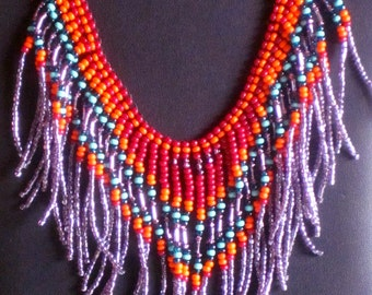 Native American beadweaving necklace in dark red, orange, teal, turquoise and lavender
