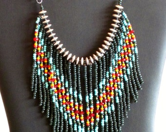 Native American Jewelry, Native American Necklace, Beaded Necklace, Tribal Necklace, Statement Necklace, Boho Necklace