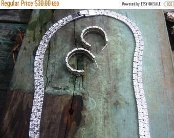 Vintage Brushed Silver Nugget Necklace & Hoop Earrings