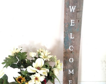 Tall Welcome Sign Reclaimed Wood Decor Sign