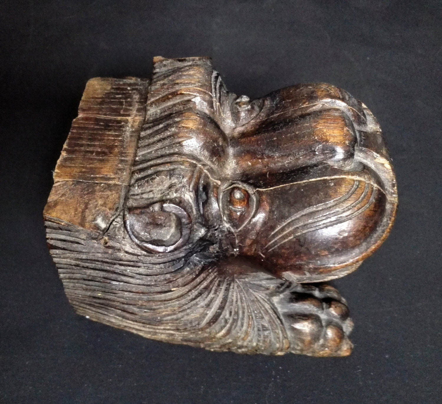 Reserved for n antique asian carved wood lion cat head wooden