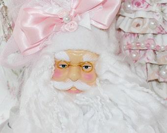 Pink Princess Cottage Shabby Chic Rose Santa Head Ornament White Bridal Arrangement Bouquet  Marie Antoinette Victorian  SCT