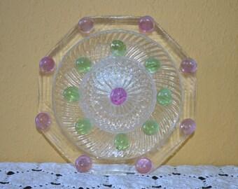 Octagon Purple and Green Glass Yard Art