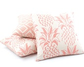 """Pineapple Pillow Cover 18x18"""" in Coral Pink with Diamond Pattern on Back, Indoor or Outdoor Use, Tropical Throw Pillow, Pineapple Grove"""