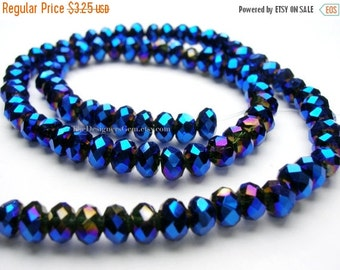 25% OFF SALE Metallic Bright Blue Chinese Crystal Faceted Rondelles 4mm