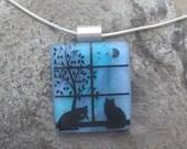 Cat Jewelry Cat Necklace Fused Dichroic Glass Cat Pendant