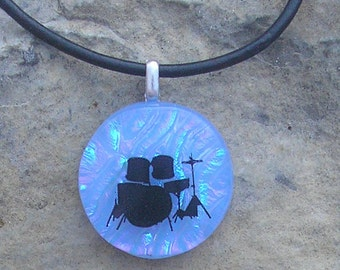 Drumset Pendant Necklace Dichroic Glass Music Drum Jewelry