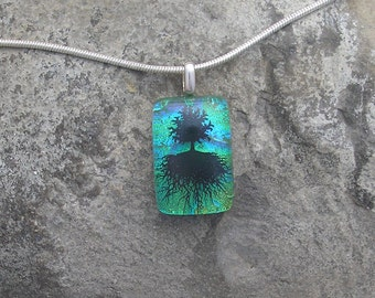 Tiny Tree of Life Pendant Dichroic Fused Glass Necklace Jewelry