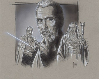 Christopher Lee Tribute Illustration featuring Star Wars and LOTR Characters
