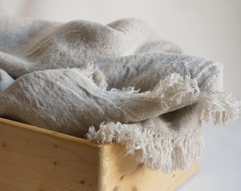 Vintage linen blanket--natural gray--Home Decor--Luxury Linen