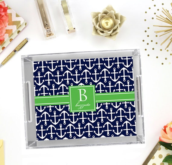 "Personalized Acrylic Tray - Square Serving Tray with Monogram - Vanity Tray - Jewelry Tray - Catch All Tray - Hostess Gift - 11"" x 17"""