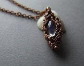 Elvish Moonstone Necklace, Bohemian Moonstone Pendant, Copper Jewelry, Rustic Fantasy Moonstone Necklace