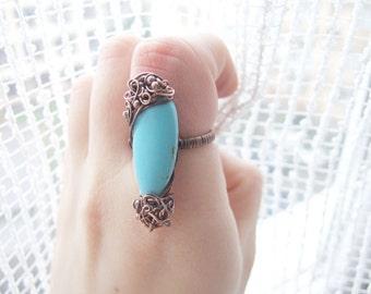 Blue Gemstone Ring, Unique Blue Bohemian Howlite Gemstone Ring, Drop Ring, Boho Blue Turquoise Tone Ring