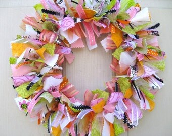 Summer Wreath, Ribbon Wreath, Fabric Wreath, Wreath for Summer, Summer Decor, Rag Wreath, Green Pink Orange Wreath