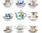 PDF Teacups and Tea Pots, 9 Digital Images for Instant Download, PDF, svg and JPG Formats