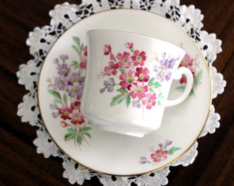 Royal Vale Vintage Teacups - Tea Cup and Saucer - Pink and Purple Florals 13683