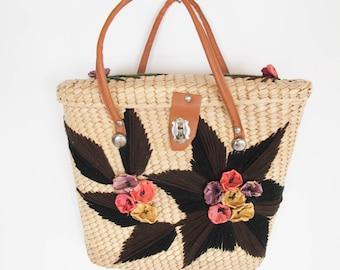 vintage 70s bohemian embroidered basket bag