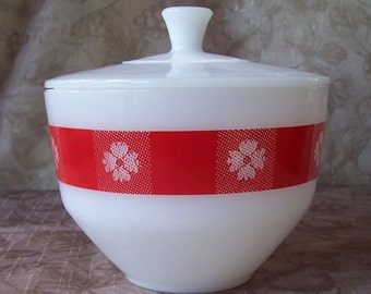 Vintage Federal Glass Picnic Check red gingham look milk glass casserole with lid.  CF293-310-3