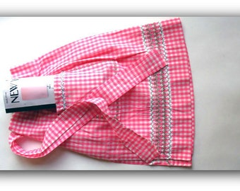 Vintage MCM Hostess Apron Homemade Pink Gingham Apron -MidCentury Fashionista- Steampunk Wedding
