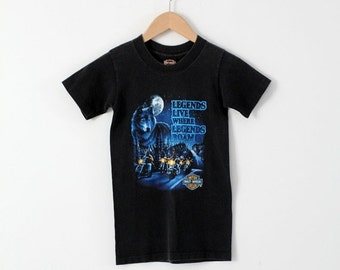 SALE vintage Harley Davidson t-shirt, wolf moon kid's biker t-shirt