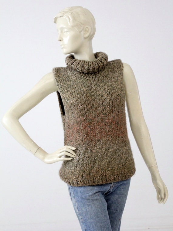 vintage cowl neck sweater, sleeveless knit top, sleeveless sweater