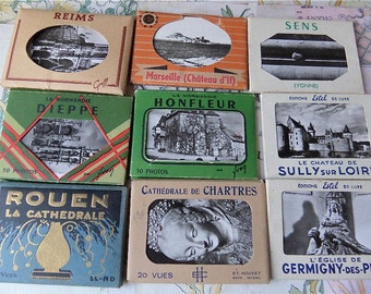Make a Tour In France Instant Collection of 9 Famous Tourist Cities Postcards Booklets