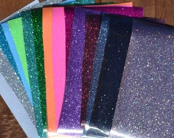 12x7 Sheet Glitter Heat Transfer Vinyl Iron On T-Shirt Wedding DIY