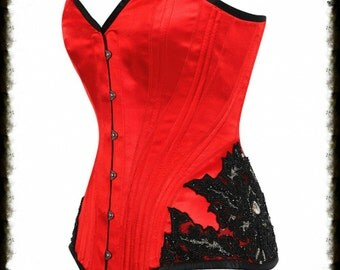 """Plus Size GOTHIC GLAMOUR Wedding Overbust Corset 34"""" inch waist Corset  Gothic Burlesque. Ready To Ship."""