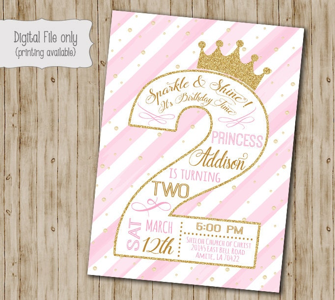 Princess 2nd Birthday Invitation Second Gold Glitter