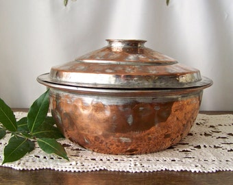 Antique Turkish Copper Steamer Server Cooking Vessel Primitive Copper Cookware Hand Forged ca 1890