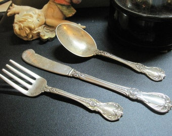 Antique Old Master Child's Fork knife and Spoon Set Sterling