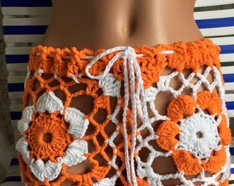 Crochet Bikini shorts, size small,medium,large. Make to order.