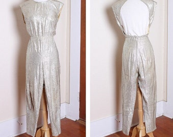 Vintage 1950s Tobi silver lame pants and daring backless top jumpsuit set XL plus size rockabilly VLV