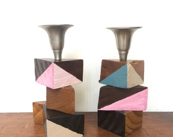 Barn Wood Geometric Painted Candleholder. Set of 2 Candle Holder. Ready to Ship