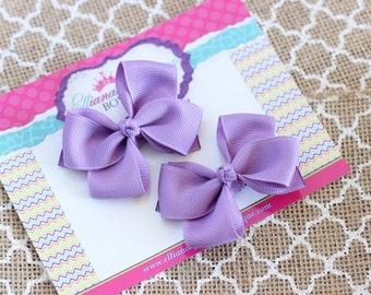 Baby Bows, Toddler Bows, Girls Hair Bows, Boutique Hair Bows, Hair Clip, Light Purple Pigtail Bows, Light Purple Piggy Set, 2.5 Inch Bows