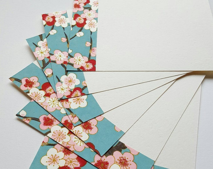 Cherry Blossom Note Cards - Set of Six Flat Cards - Handmade Stationery - Lux Note Cards - Japanese Paper