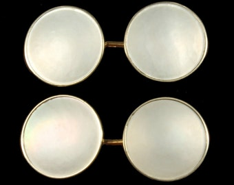Antique Deco 14K Gold & MOP Mother Of Pearl Elegant Cufflinks 1/2""