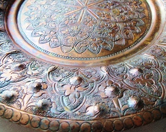 Copper Platter,Tray, Vintage Round Hand Hammered and Embossed Decorative Plate