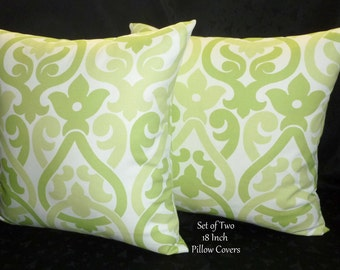 Decorative Pillows - Set of Two Lime Green and White 18 Inch Pillow Covers