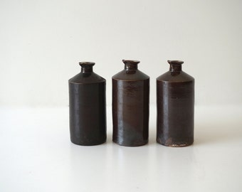 Ink Bottle 19th C Dark Brown Glaze Shipping Included