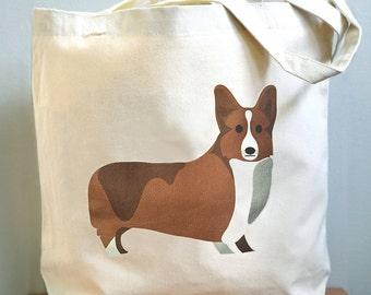 Corgi tote bag, Corgi canvas tote bag, corgi gift
