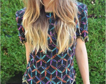 Stella beaded vintage blouse