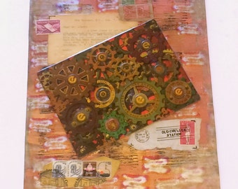 Gears Mixed Media Artwork, Stamp Collector Art, Amelia Earhart Stamp, Old Postage Stamps