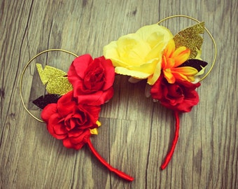 Floral Mickey Mouse Ears Red and yellow roses