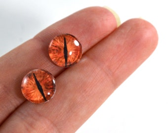 10mm Red Dragon Glass Eye Cabochons - Evil Eyes for Doll or Jewelry Making - Set of 2