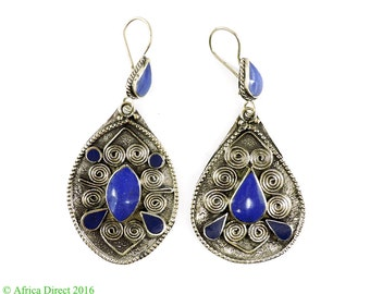 Earrings Silver Lapis Insets Afghanistan 104967 SALE WAS 22